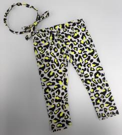 Legging leopard neon geel incl haarband