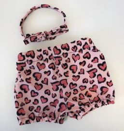 Bloomer pink hearts  incl haarband