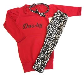 3 delig setje leopard/red dress name