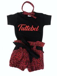 Setje Tuttebel & bloomer luxe leop red