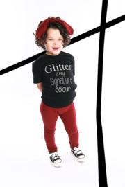 Setje ripp legging met haarband & shirtje glitter