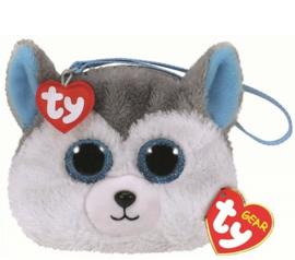 Pluche portemonnee husky (met glitter ogen) 12 cm