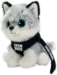 """Husky zittend met tuigje en kort riempje """"snowdogs"""" 15 cm"""
