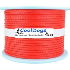Treklijn 4 honden Dyneema 5 mm Rood moeilijk door te bijten ( incl musketons) breekkracht 2300 kg