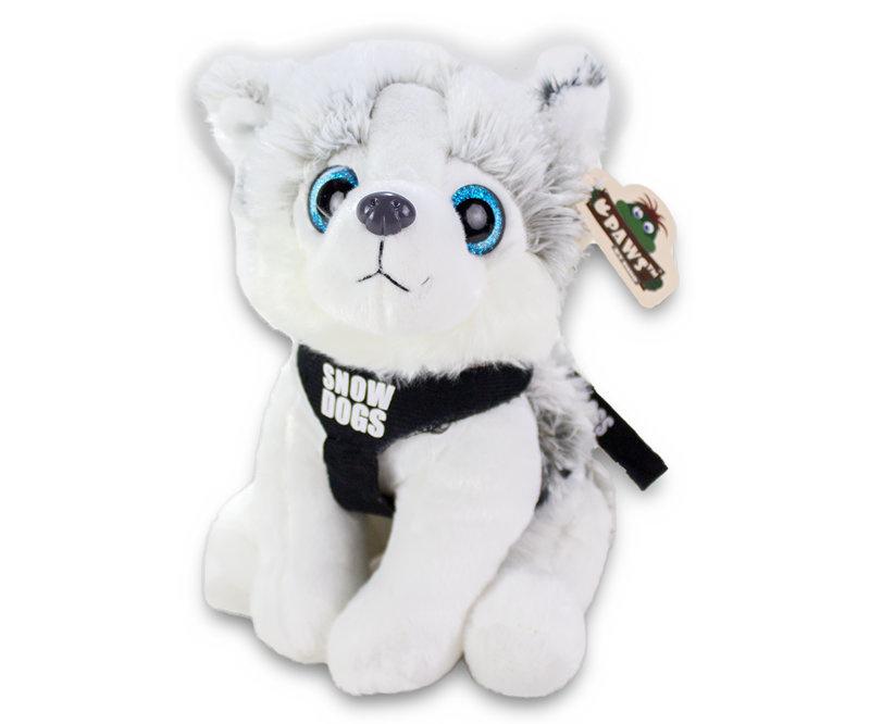 """Husky zittend met tuigje en kort riempje """"snowdogs"""" 25 cm"""