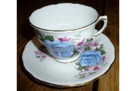 Kop en schotel blauwe roos met fuchsia
