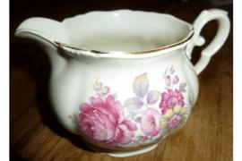 Antiek Koffiemelkkannetje met roze bloemen