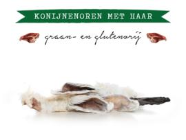 Gedroogde Konijnenoren met vacht - 100 gram | Hond (AR)