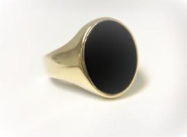 Antiek Gouden Heren Zegelring - Onyx (Ovaal)