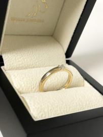 14 K Bicolor Gouden Bijzet Ring 0.14 Crt Briljantgeslepen Diamant - G/VS1