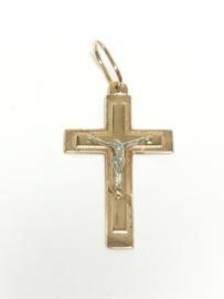 14 K Rosé Gouden Hanger Kruis Met Jezus Figuur (Witgoud) - 3,7 cm