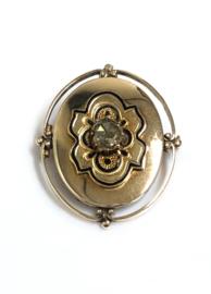 14 K Antiek Gouden Broche Emaille / Roosgeslepen Diamant