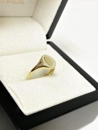 14 K Gouden Dames Zegelring Pink Ring Graveer Ring Ovaal