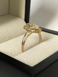 Antiek Gouden Gravé Markies Ring