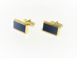 Handvervaardigd 14 K Gouden Rechthoek Manchetknopen Blauwlagen Wapengravure Optie - 14 g