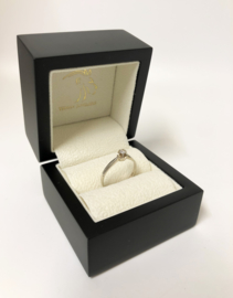 14 K Witgouden Solitair Ring 0.08 crt Briljantgeslepen Diamant  H / VS2