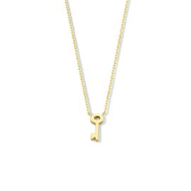 14 K Gouden Anker Collier Vaste Hanger - Sleuteltje 42 / 45 cm (verstelbaar)