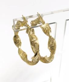 14 K Gouden Wokkel Creolen Meander Versace - 3,5  cm / 4 g