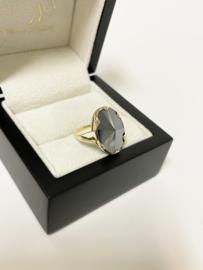 Vintage 14 K Antiek Gouden Ring Facetgeslepen Hematiet