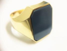14 K Gouden Heren Zegelring (8-kant) Blauwlagen Steen