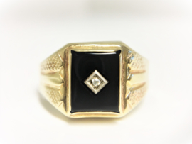 Antieke  Zegelring Onyx Briljantgeslepen Diamant