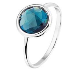 14 K Witgouden Solitair Ring London Blue Topaas