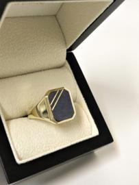 14 K Massief Gouden Heren Zegelring (8-Kant) Lapis Lazuli - 11,25 g