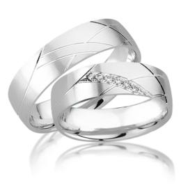 Trouwringen Witgoud 14 Karaat 0.15 Diamanten - Model FL68