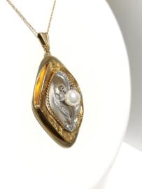 Antiek Handvervaardigd Gouden Hanger Parel 0.18 Diamant H / VS2 - 5 cm