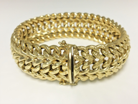 Brede 14 K Gouden Fantasie Schakel Armband - 19,5 cm / 28,06 gram