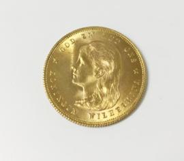 Gouden Tientje Wilhelmina Lang Hangend Haar - 1897