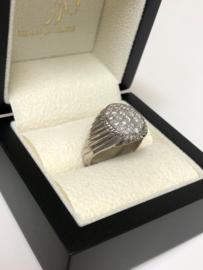 14 K Witgouden Heren Ring Ovaal - 0.97 crt Diamant G / VVS1