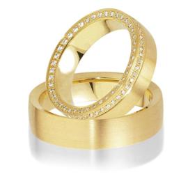 Trouwringen Bicolor Goud 14 Karaat 0.44 Diamanten - Model FL83