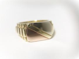 14 K Massief Tricolor Gouden Heren Rolex Ring - 10,55 g