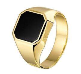 14 K Gouden Heren Zegelring (8-Kant) - Onyx