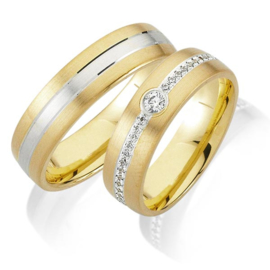 Trouwringen Bicolor Goud 14 Karaat 0.335 Diamanten - Model FL79