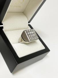 18 K Gouden Heren Ring 0.90 crt Briljant Geslepen Diamant - 13,8 g