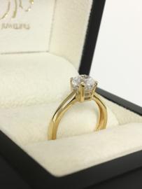 14 K Gouden Solitair Ring 1 crt  Briljantgeslepen Heldere Zirkonia