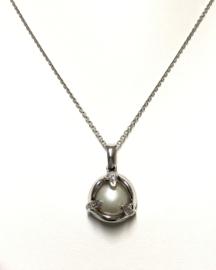 18 K Witgouden Semi-Barok Zoutwater Mabé Parel Hanger Diamant