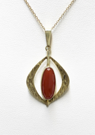 Handvervaardigd 14 K Antiek Gouden Hanger Facet Geslepen Carneool