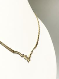 14 K Gouden V-Collier Briljantgeslepen Diamant H / VS1 (verstelbaar) 42-44 cm / 11,55 g