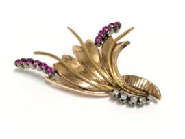 14 K Antiek Gouden Broche Jaren '20 - Robijn / Diamant