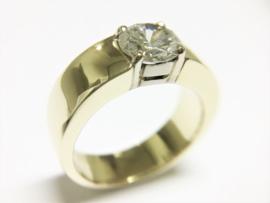14 K Gouden Brede Band Ring 1,3 crt Briljantgeslepen Diamant Top Wesselton