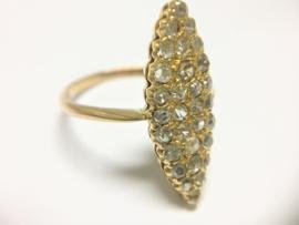 Antiek  Handvervaardigd 18 K Gouden Markies Ring ca 0.50 crt Diamant (vrij slijpsel)