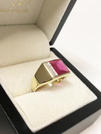 14 K Gouden Heren Zegelring Robijn / Diamant - Mt 20
