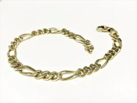 14 K Massief Gouden Figaro Schakel Armband - 22,5 cm / 22 g