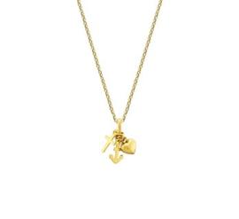 14 K Gouden Collier Geloof, Hoop en Liefde (Verstelbaar) -  41 + 4 cm