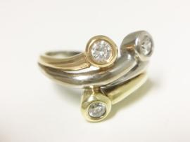 14 K Tricolor Gouden Design Ring 0.45 crt Briljantgeslepen Diamant
