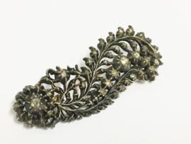 Antiek Zilveren / Gouden Veerbroche Roosdiamanten ca 1880