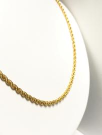 14 K Gouden Koord / Kabel / Rope Ketting - 55,5 cm / 4,2 g / 3 mm